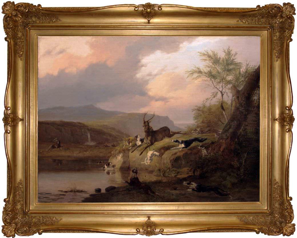 """Старинная картина: """" Охота на оленя"""". Западная Европа, 1840-1850 гг.Автор: Pierre Louis DUBOURCQ (1815-1873)"""