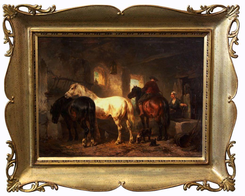 """Старинная картина: """" В конюшне"""" . Западная Европа, середина 19 века. Художник: Wouterus I VERSCHUUR"""