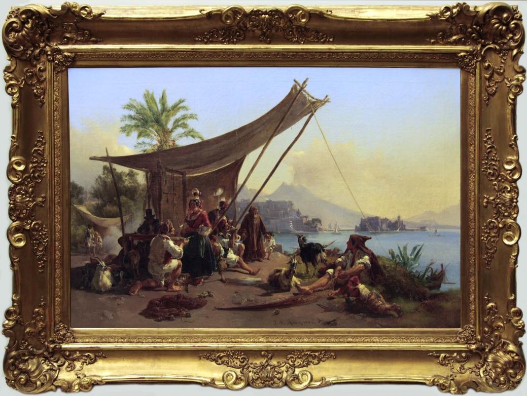 """Старинная картина: """" Жанровая итальянская сцена"""" . Западная Европа, Италия, 1844 год.Художник: Раух И. Н"""